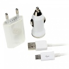 SZKINSTON USB Car Charger with EU Plug Adapter, Micro USB Cable- White