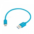 Type-C Male to USB Male Data Charging Cable - Blue (20cm)