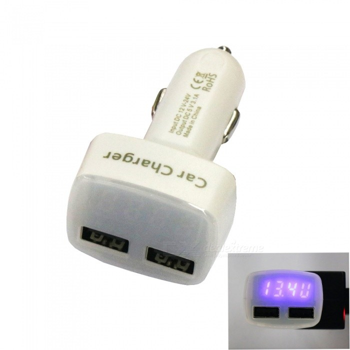 AS-1 Dual USB Quick Charge Car Charger with LCD Display - White