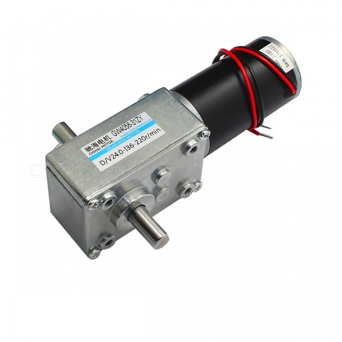 ChiHai Motor CHW-GW4058-31ZY DC Worm Gear Motor, 12V 24V Self LockingMotors<br>Form  ColorBlack + Silver + Multi-ColoredModelCHW-GW4058-31ZY-36IQuantity1 DX.PCM.Model.AttributeModel.UnitMaterialZinc alloy, nylon, iron, steel, copper, POMRate Voltage24.0VPower Range6.0~24.0VInput VoltageDC24.0 DX.PCM.Model.AttributeModel.UnitRevolutions Per Minute (RPM)220RPMWorking Current1.1 DX.PCM.Model.AttributeModel.UnitWorking Temperature-10 +70 DX.PCM.Model.AttributeModel.UnitEnglish Manual / SpecNoDownload Link   NoPacking List1 ? Motor<br>