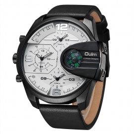Oulm HP3790 Men's Quartz Watch with Real Leather Strap - White