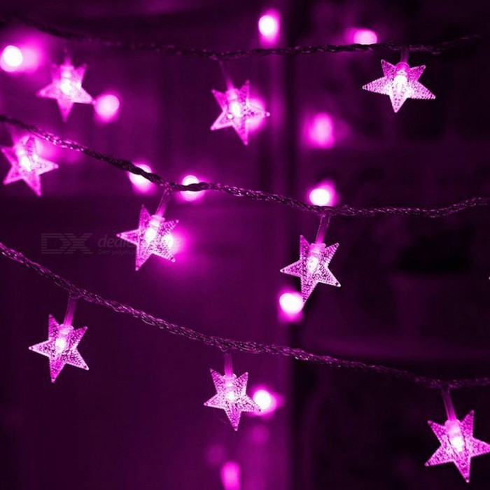 Purple Fairy String Lights : 33ft 10m Star Shape Purple Fairy String Lights with 8 Flash Modes - Free Shipping - DealExtreme