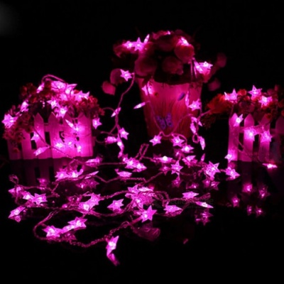 33ft 10m Star Shape Pink Fairy String Lights with 8 Flash Modes