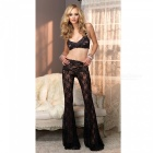 Sexy Perspective Crossed Alusvaatteet Lace Bell-bottom Trousers Suit