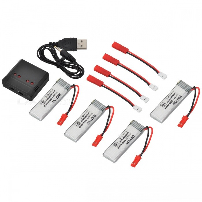 ENGPOW Four 3.7V 500mAh Lipo Batteries with Charge for UDI U818A