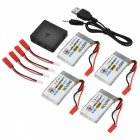 ENGPOW Four 3.7V 1000mAh Lipo Batteries with Charger - Black