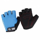 MOKE Bike Riding Anti-Slip Semi-Finger Gloves - Blue (M, Pair)