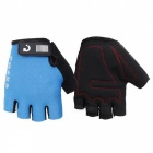 MOKE Bike Riding Anti-Slip Semi-Finger Gloves - Blue (L, Pair)