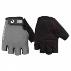 MOKE Bike Riding Anti-Slip Semi-Finger Gloves - Grey (M, Pair)