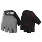 MOKE Bike Riding Anti-Slip Semi-Finger Gloves - Grey (XXL, Pair)