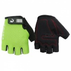 MOKE Bike Riding Anti-Slip Semi-Finger Gloves - Green (L, Pair)