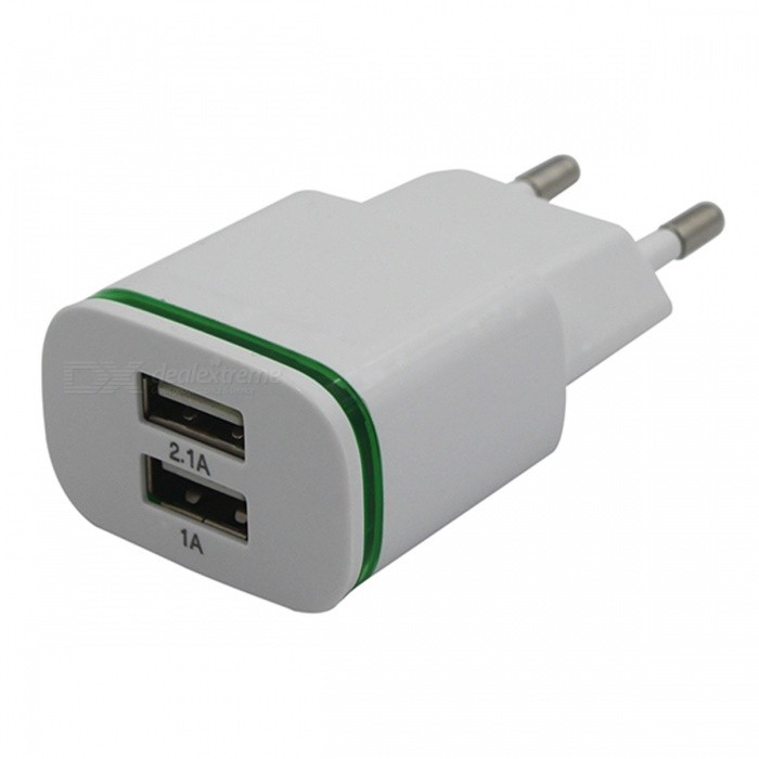 USB 2.0 2-Port 5V Fast-Charging EU Plug Power Charger - WhiteAC Chargers<br>Form  ColorWhiteModelN/AMaterialABSQuantity1 pieceCompatible ModelsUniversalInput Voltage5 VOutput Current2 AOutput Voltage5 VPower AdapterEU PlugPacking List1 x Charger<br>