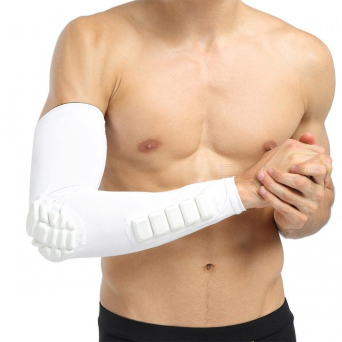 Single Basketball spielen lange Breathable Nylon Arm Armor - Weiß (M)