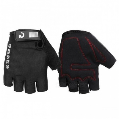 MOKE Bike Riding Anti-Slip Semi-Finger Gloves - Black (XL, Pair)