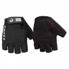 MOKE Bike Riding Anti-Slip Semi-Finger Gloves - Black (XXL, Pair)