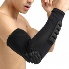 Single Basketball Playing Long Breathable Nylon Arm Armor - Black (XL)