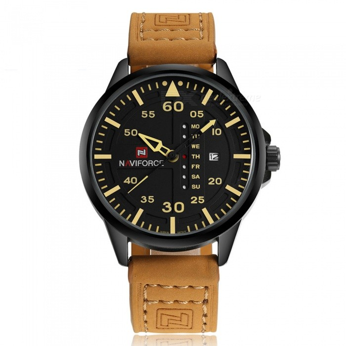 NaviForce NF9074 Mens Sports Leather Wrist Quartz Watch - YellowSport Watches<br>Form  ColorYellow (With Gift Box)ModelNF9074Quantity1 pieceShade Of ColorBrownCasing MaterialStainless SteelWristband MaterialLeatherSuitable forAdultsGenderMenStyleWrist WatchTypeSports watchesDisplayAnalogMovementQuartzDisplay Format12 hour formatWater ResistantWater Resistant 3 ATM or 30 m. Suitable for everyday use. Splash/rain resistant. Not suitable for showering, bathing, swimming, snorkelling, water related work and fishing.Dial Diameter4.7 cmDial Thickness1.3 cmWristband Length24.5 cmBand Width2.2 cmBattery1 x Button batteryPacking List1 x Watch1 x Gift Box<br>