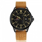 NaviForce NF9074 Men's Sports Leather Wrist Quartz Watch - Yellow