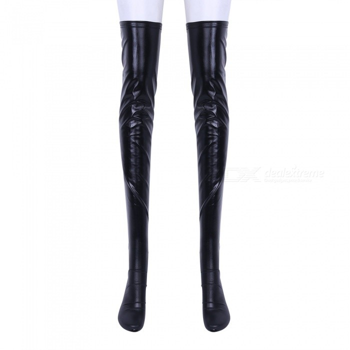 Sexy Patent Leather Long Stockings with Adjustable Straps - BlackSocks and Leg wear<br>Form  ColorBlackQuantity1 setShade Of ColorBlackMaterialPatent leatherStyleFashionSeasonsSpring and SummerSock Length of Foot29-32 cmSock Girth of Foot23-30 cmSock Length of Leg82 cmPacking List1 x Pair of stockings<br>