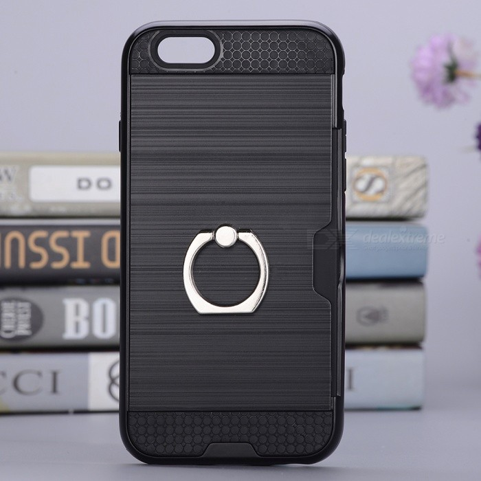 BLCR Protective Ring Stand Back Case w/ Card Slot for IPHONE 7 - BlackPlastic Cases<br>Form  ColorBlackQuantity1 pieceMaterialPC + TPUCompatible ModelsiPhone 7DesignWith Stand,Card Slot,Others,With RingStyleBack CasesPacking List1 x Case<br>