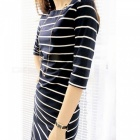 Europe The United States Casual Striped Round Neck Dress - Black (L)