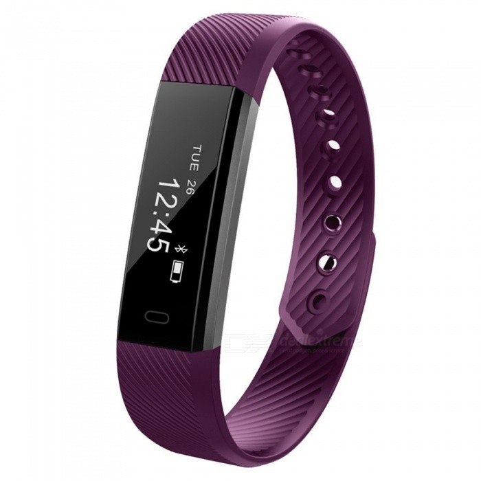 Eastor ID115 Smart Bracelet with Fitness Tracker, Passometer - PurpleSmart Bracelets<br>Form  ColorPurpleModelID115Quantity1 pieceMaterialPlasticShade Of ColorPurpleWater-proofIP67Bluetooth VersionBluetooth V4.0Touch Screen TypeOthers,OLEDCompatible OSAndroid 4.4 and iOS 7.1 or aboveBattery Capacity50 mAhBattery TypeLi-polymer batteryStandby Time10 hoursPacking List1 x Smart Wristband1 x English Manual<br>