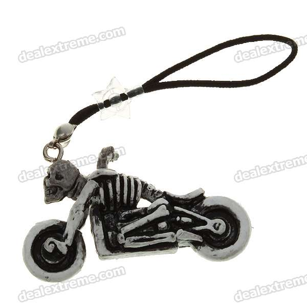 Cute Motorbike Skull Cell Phone Straps - Grey (12-Pack) charming cell phone straps with activity led 10 pack assorted
