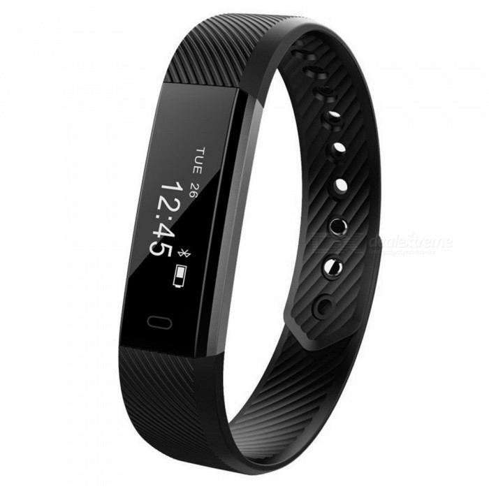 Eastor ID115HR Heart Rate Smart Bracelet with Fitness Tracker - BlackSmart Bracelets<br>Form  ColorBlack (With Heart Rate Monitor)ModelID115HRQuantity1 DX.PCM.Model.AttributeModel.UnitMaterialPlasticShade Of ColorBlackWater-proofIP67Bluetooth VersionBluetooth V4.0Touch Screen TypeOthers,OLEDCompatible OSAndroid 4.4 and iOS 7.1 or aboveBattery Capacity50 DX.PCM.Model.AttributeModel.UnitBattery TypeLi-polymer batteryStandby Time10 DX.PCM.Model.AttributeModel.UnitPacking List1 x Smart Wristband1 x English Manual<br>