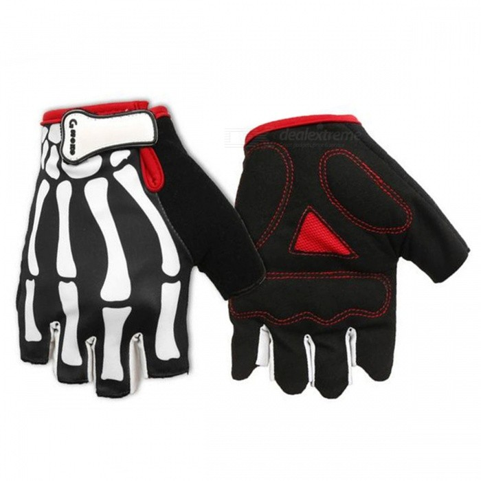 MOKE Bike Riding Hand Skeleton Motif Gants semi-doigts - Noir (M)