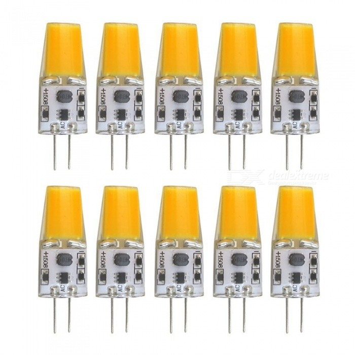 SZFC 10Pcs 5W G4 AC DC 12V Warm White Light Silicone LED BulbsG4<br>Color BINWarm WhiteModelG4-COB-WW-10MaterialPCBForm  ColorWhiteQuantity10 piecesPower5WRated VoltageOthers,AC/DC-12 VConnector TypeG4Chip Type1508Emitter TypeCOBTotal Emitters1Theoretical Lumens500 lumensActual Lumens150-450 lumensColor Temperature3000KDimmableNoBeam Angle360 °Packing List10 x LED lamps<br>