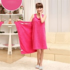 180 x 78cm Soft Wearable Drying Bath Towel Wrap Bathrobes - Deep Pink