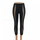New Sexy Tie Lace Up Slim Pants - Black (L)