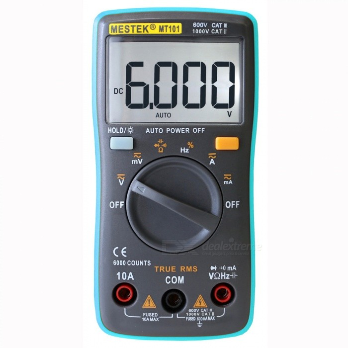 MESTEK MT101 Digital Multimeter AC DC Ammeter Voltmeter - Blue, Grey
