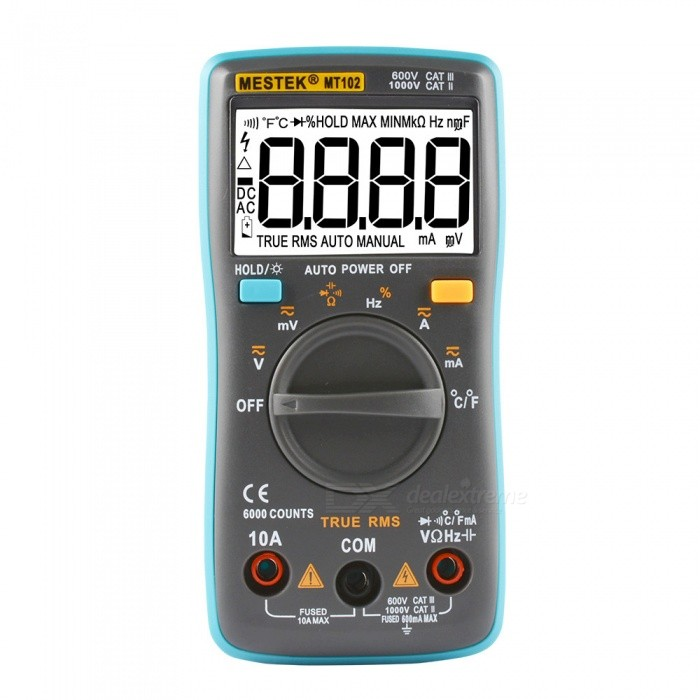 MESTEK MT102 Digital Multimeter AC DC Ammeter Voltmeter - Blue, Grey