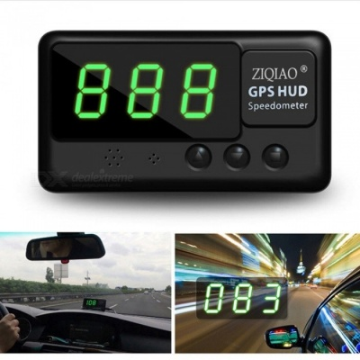 ZIQIAO Universal Car HUD Head-Up Display GPS Speedometer - Black