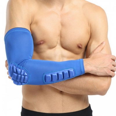 Single Basketball Playing Long Breathable Nylon Arm Armor - Blue (M)