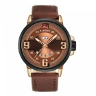 NAVIFORCE 9086 Men Sports Army Leather Wrist Quartz Watch - Brown,Gold