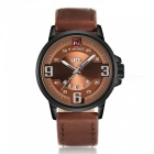 NAVIFORCE 9086 Men Sports Leather Wrist Quartz Watch - Black, Brown