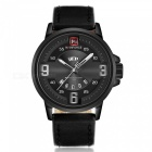 NAVIFORCE 9086 Men Sports Army Leather Wrist Quartz Watch - Black