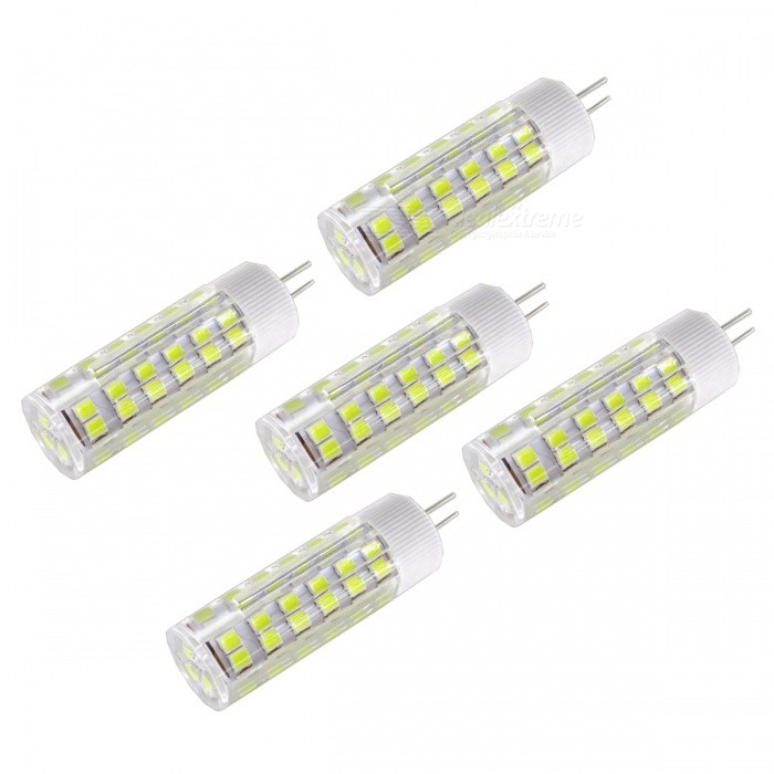 SZFC 5Pcs 6W AC DC-12V G4 Cold White 6000k Ceramic LampsG4<br>Color BINCold WhiteModelG4-75L-W-5MaterialCeramicForm  ColorWhiteQuantity5 setPower6WRated VoltageOthers,AC/DC-12 VConnector TypeG4Chip Type2835SMDEmitter TypeLEDTotal Emitters75Theoretical Lumens600 lumensActual Lumens400 lumensColor Temperature6000KDimmableNoBeam Angle360 °Packing List5 x LED Lamps<br>