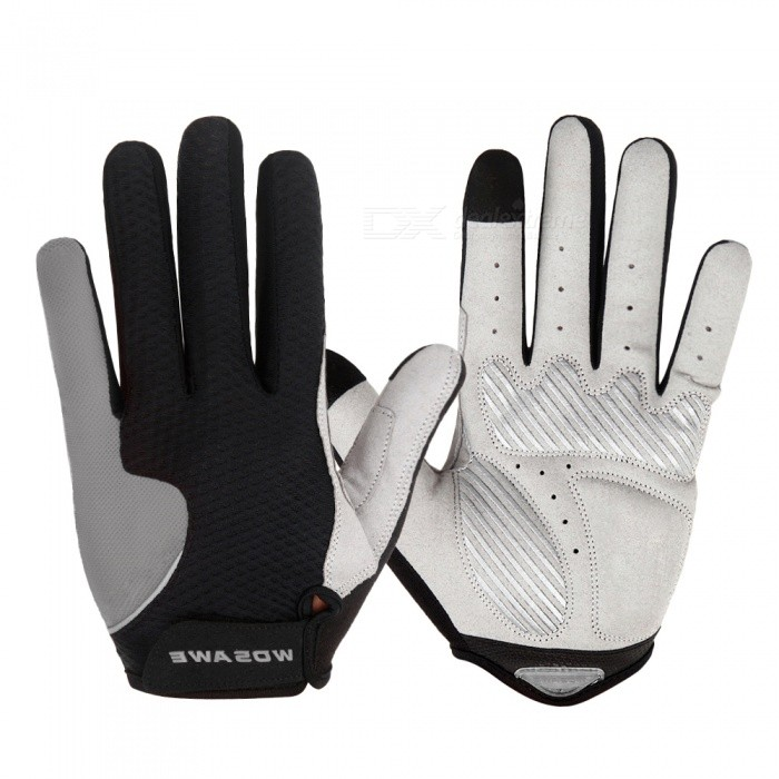 WOSAWE Anti-Slip Full Finger Gloves for Cycling - Grey (M)