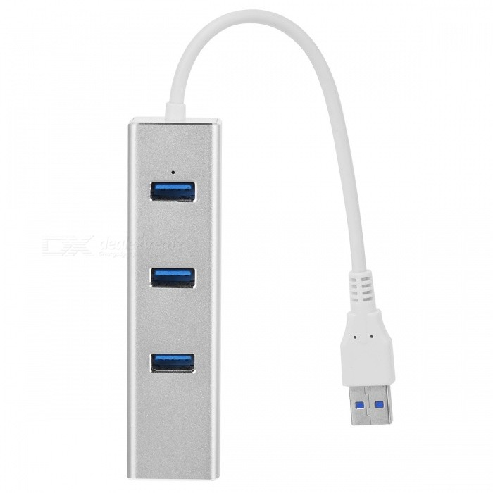 BSTUO USB3.0 to RJ45 1000Mbps Gigabit Ethernet HUB Adapter - Silver