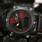 NAVIFORCE 9095 Men's Sports Leather Wrist Quartz Watch - Black, Red