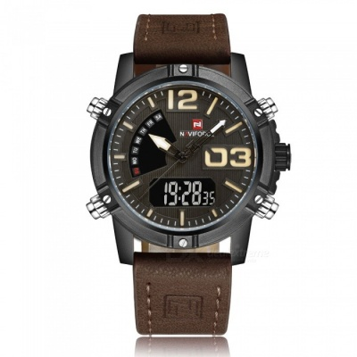 NAVIFORCE 9095 Men's Sports Leather Wrist Quartz Watch - Brown