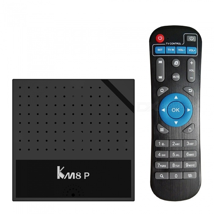 KM8P Android 7.1 TV Box Octa-Core 64bit 1GB RAM, 8GB ROM, EU PlugSmart TV Players<br>Form  ColorBlackBuilt-in Memory / RAM1GBStorage8GBPower AdapterEU PlugQuantity1 setMaterialABSShade Of ColorBlackOperating SystemOthers,Android 6.0ChipsetAmlogic S912  64 bit Octa core ARM Cortex-A53 CPU up to 2 GHzCPUOthers,Cortex-A53Processor FrequencyARM Mali-T820MP3 GPU up to 750MHz (DVFS)GPUARM Mali-T820MP3 GPU up to 750MHz (DVFS)Menu LanguageEnglishMax Extended Capacity128GBSupports Card TypeMicroSD (TF)Wi-FiBuilt in 2.4G  WiFi  Support IEEE 802.11 b/g/nBluetooth VersionNo3G FunctionYesWireless Keyboard/Mouse2.4GAudio FormatsMP3,WMA,FLAC,OGG,AACVideo FormatsRM,RMVB,AVI,MKV,MOV,MPG,DAT,MPEG,WMVAudio CodecsDTS,AC3,FLACVideo CodecsMPEG-1,MPEG-2,MPEG-4,H.264,VC-1,H.265Picture FormatsJPEG,BMP,PNG,GIF,TIFFSubtitle FormatsMicroDVD [.sub],SubRip [.srt],Sub Station Alpha [.ssa],Sami [.smi]idx+subPGSOutput Resolution1080PHDMIHDMI 2.0 4K x 2K 60HzPower SupplyDC 5V/2APacking List1 x KM8P Smart Android 7.1 TV Box   1 x Remote Control1 x HD Cable  1 x Power Adapter1 x English User Manual<br>
