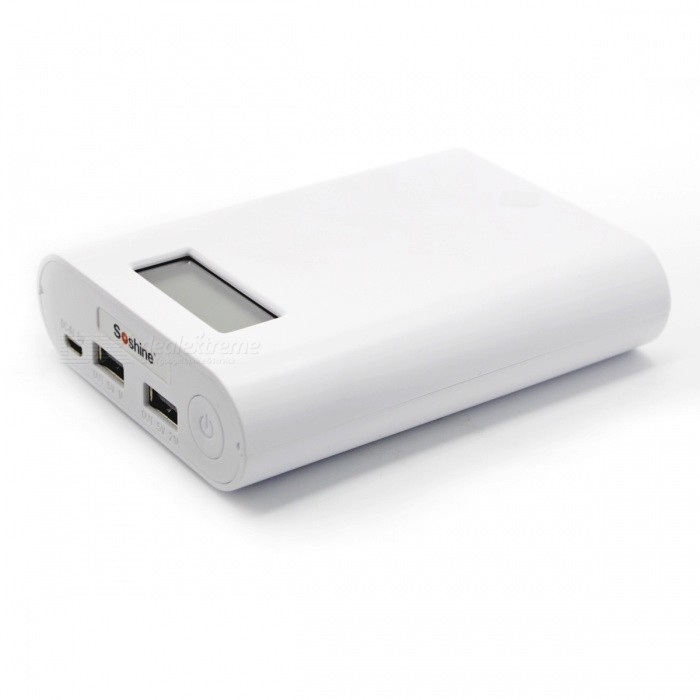 Soshine E3S LCD Mobile 4-Slot 18650 Battery Charger - WhiteChargers<br>Form  ColorWhitePower AdapterOthersModelE3SQuantity1 setMaterialPlasticCharging Cell TypeLithium IonCharging Battery Type18650Rechargeable Battery Qty4Target Country &amp; RegionInfiniteBuilt-in Protected CircuitYesInput Voltage5 VOutput Voltage5 VMax. Output Current3.5 AFast Charging FunctionYesLCD ScreenYesAuto Circuit DetectionYesIndicatorLCDOver Voltage ProtectionYesShort-Circuit ProtectionYesOver-Charging ProtectionYesOver-Discharging ProtectionYesPacking List1 x Power supply box1 x Data line1 x Instruction<br>