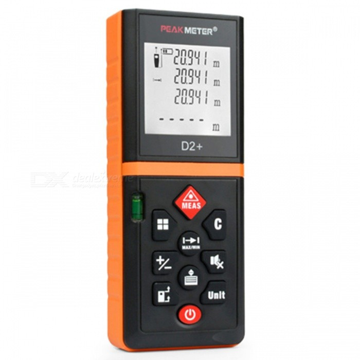 PEAKMETER 40m Handy Laser Distance Meter with Removable ClipLaser Rangefinder, Electronic Distance Meter<br>Form  ColorOrange + BlackModelD2+Quantity1 pieceMaterialTPE + ABSDetection Range0-40mMeasuring Accuracy±1.5mmLaser LevelInfraredMax.Storage20DisplayTFTPowered ByAAA BatteryBattery included or notYesEnglish Manual / SpecYesCertificationCE/FCC/RoHSPacking List1 x 40m laser distance meter 2 x AAA Batteries 1 x Canvas Bag 1 x User Manual<br>