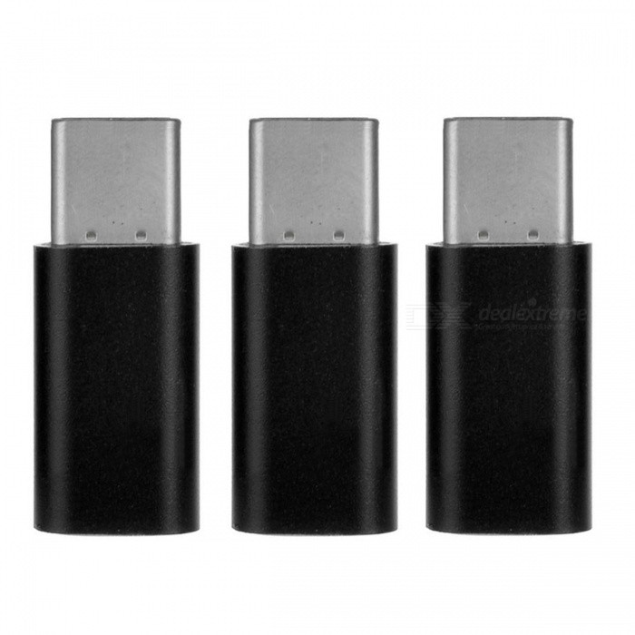 Mini Smile USB 3.1 Type-C to Micro USB Data Charging Adapters (3pcs)