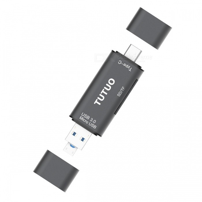 Tutuo Type-C, Mirco USB, USB-A 3.0 Card Reader, TF SD OTG AdapterCard Readers<br>Form  ColorGreyModelV16-BQuantity1 pieceShade Of ColorGrayMaterialAluminum alloyInterfaceUSB 3.0Supports Card TypeSD,MicroSD (TF),TF,Others,Memory CardMax. Memory Supported128Slot Number2Support card quantity simultaneously1Transmission Rate5 GbpsPowered ByUSBIndicator LightYesSupports SystemWin xp,Win 2000,Win 2008,Win vista,Win7 32,Win7 64,Win8 32,Win8 64,MAC OS X,IOS,Linux,Android 2.x,Android 4.xCertificationCE, RoHs, FCCPacking List1 x 3-in-1 Type-c Card reader1 x User Manual (English&amp; Janpanese)<br>