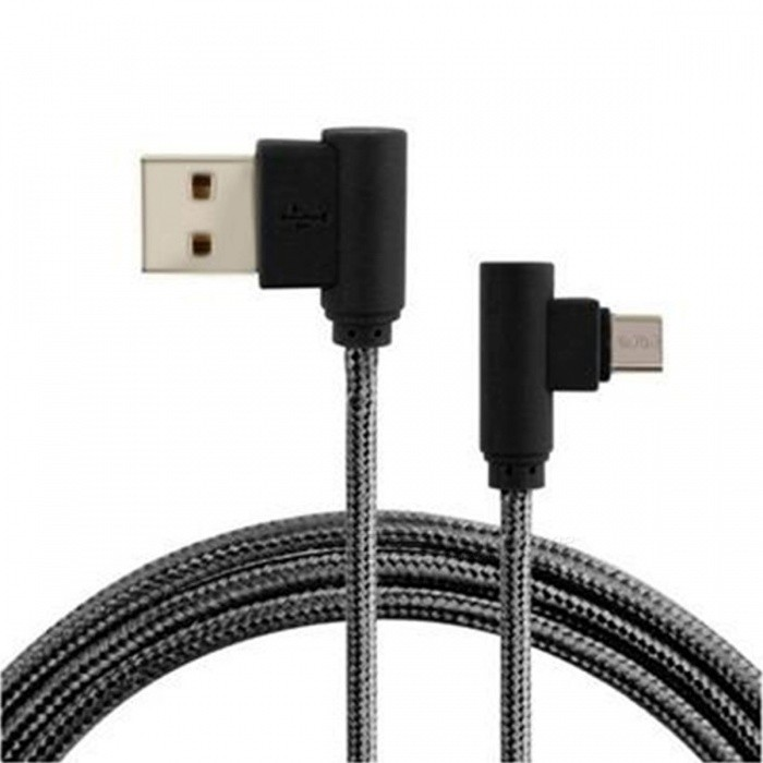 90 Degree Braided Micro USB Charging and Data Transfer Cable - Black